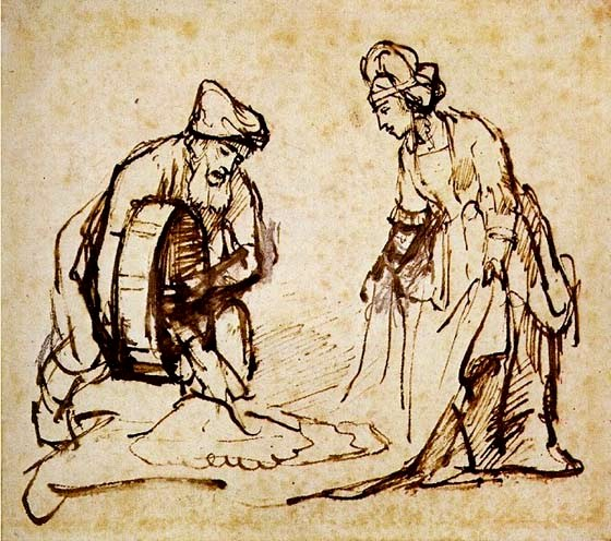Ruth and Naomi in Bible Paintings: Ruth and Boaz, Rembrandt, Bible Art Gallery: paintings from the Old and New Testaments