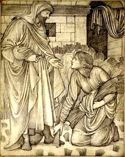 Ruth and Naomi in Bible Paintings: Drawing by Burne-Jones, Ruth Meets Boaz, 1879