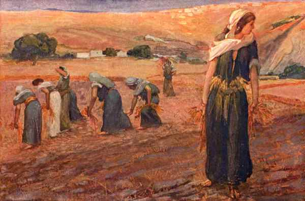 Ruth and Naomi in Bible Paintings: James Tissot, Ruth Gleaning, 1896