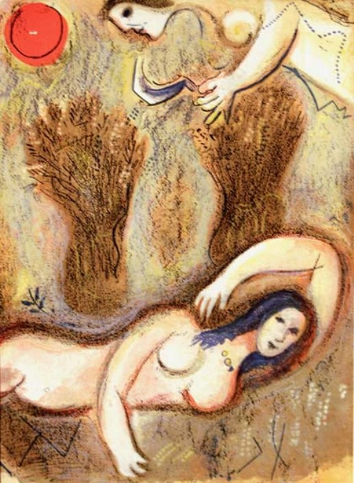 Ruth and Naomi in Bible Paintings: Boaz wakes and sees Ruth at his feet, Marc Chagall, Bible Art Gallery: paintings from the Old and New Testaments