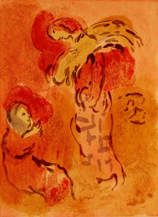 Ruth and Naomi in Bible Paintings: Ruth Gleaning, Marc Chagall, Bible Art Gallery: paintings from the Old and New Testaments