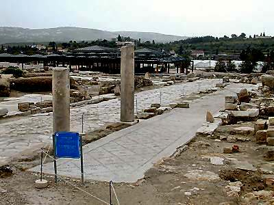 Excavated street pavement and columns in the ancient city of Sepphoris