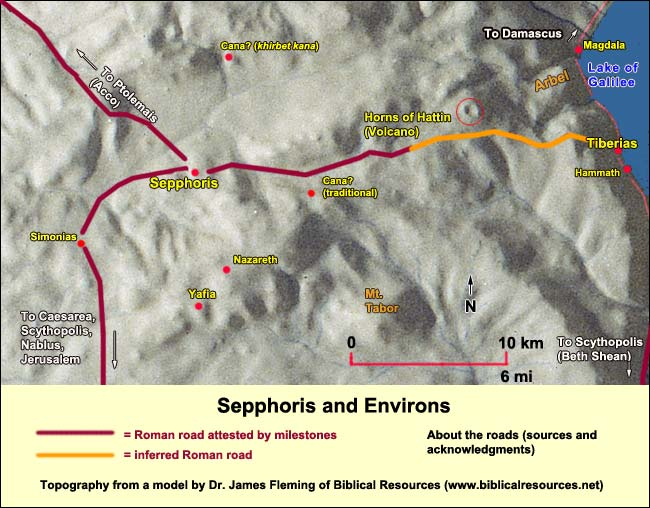 Mary Magdalene, Bible woman. Map of Nazareth area