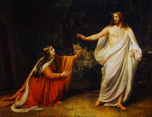 Jesus warns Mary Magdalene not to touch him: Noli me tangere