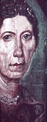 Painting of an older woman, from one of the Fayum coffin portraits