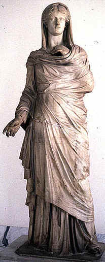 MARY MAGDALENE: BIBLE WOMEN: Marbel statue showing the ideal of a Roman matron