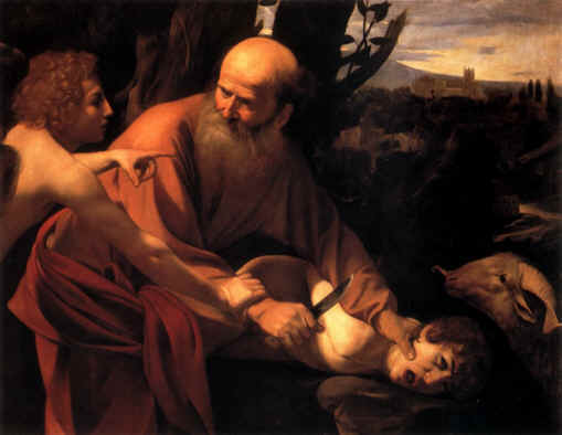 Bible Book of Genesis: The Angel warns Abraham against killing Isaac, Caravaggio