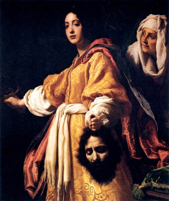 Bible Book of Judith. Judith with the head of Holofernes, Allori. According to Allori's biographer, the model for 'Judith' was Allori's mistress, the maid was her mother, and the head of Holofernes was a portrait of the artist himself.
