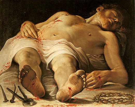 The Dead Christ, Annibale Carriacci, painting