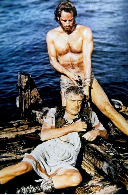 Bible movies, films. Ben Hur saves a Roman aristocrat from drowning at sea in the film 'Ben Hur'