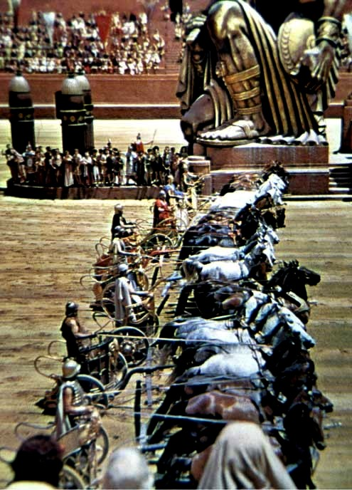 Bible movies, films. The starters line up for the great race in the film 'Ben Hur'