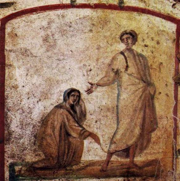 Painting from the catacombs: the story of the woman with an issue of blood was important to the earliest Christians