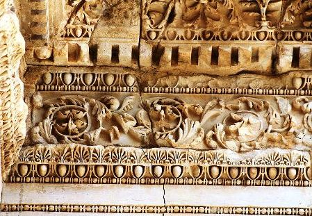 Roof/ceiling of the Celsus Library in Ephesus; it is from a slightly later period than Prisca's visit to the city, but gives an idea of the sumptuous sophistication of the city she saw
