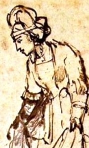 Detail of Ruth gathering grain, Rembrandt drawing