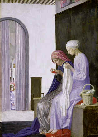 Elizabeth and Mary, Robert Anning Bell. Note the angel behind the curtain