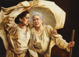 "Ruth and mother-in-law Naomi by Sandy Freckleton Gagon. Gagon says, ""My desire is to serve the Lord through my paintings."" Courtesy of Sandy Freckleton Gagon."