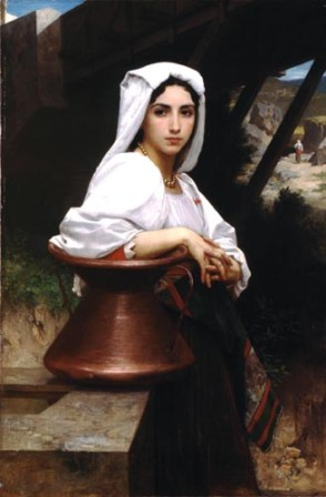 A young girl waiting with a water jug. Painting by Adolphe Bouguereau