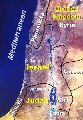 Bible queen: Athaliah. Map of Israel and Judah as they were when they became two divided kingdoms after the death of King Solomon