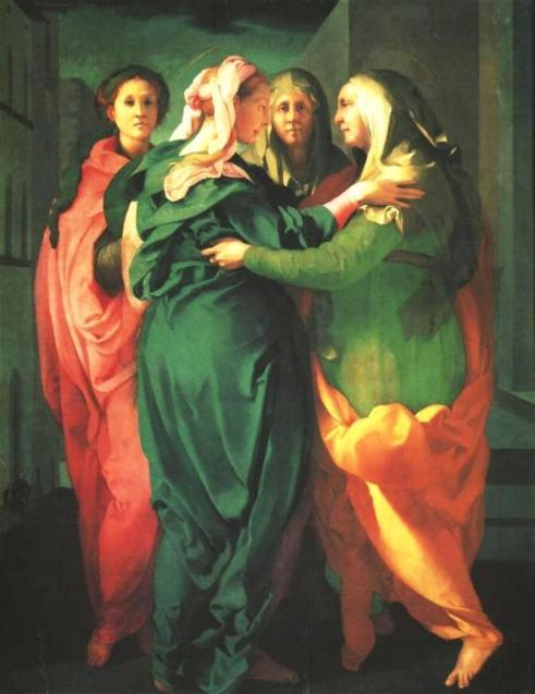 'The Visitation', by Jacopo Pontormo. Green is the traditional colour or symbol of new life.