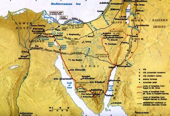 A possible route taken by the Hebrew tribes in their search for a new homeland
