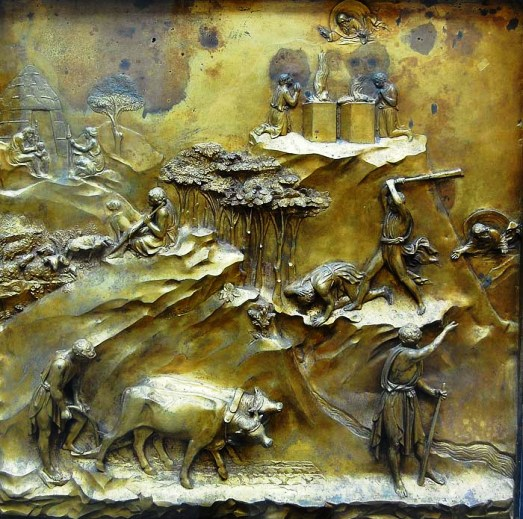 Cain & Abel artworks: Panel showing episodes in the story of Cain and Abel, Ghiberti, the Gates of Paradise on the Baptistry in Florence
