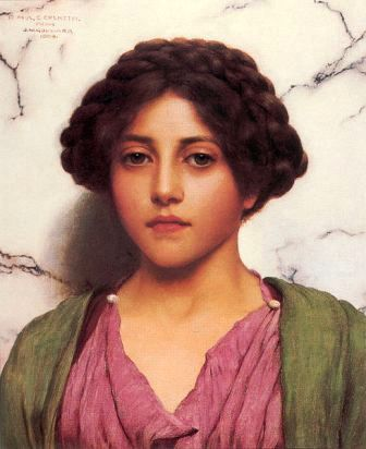 Godward painting of a beautiful young woman