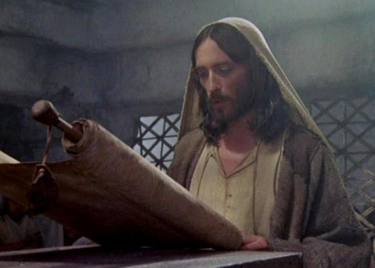 Jesus reads in the synagogue, scene from the modern film 'Jesus of Nazareth'