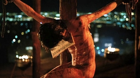 Bible movies, films. Jesus hanging on the cross in 'Jesus of Montreal'