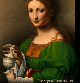 The Magdalene, Bernardio Luini; this portrait is an example of the centuries-old confusion between Mary Magdalene and the woman with the alabaster jar