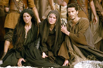 Mary Magdalene, Mary of Nazareth, and John in the film 'The Passion of the Christ'