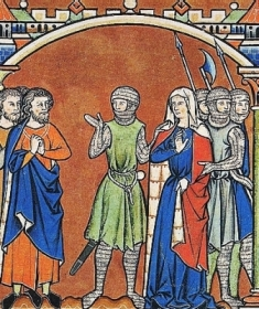 Illustration from the Maciejowski Bible: Patriel and Michal are parted