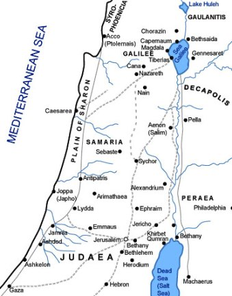 Map showing Samaria at the time of Jesus