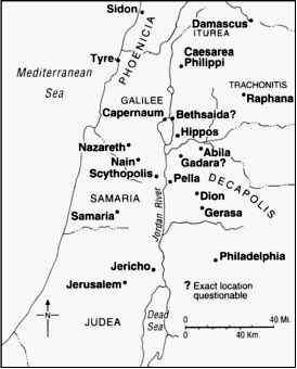 Map showing the areas around Judea and Galilee