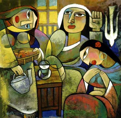 Jesus with Martha and Mary, Bible women. Painting by He Qi