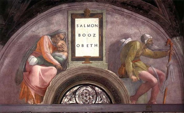 Ruth and Naomi in Bible Paintings: Michelangelo's fresco in the Sistine Chapel; it shows Ruth with her son Obed, and her father-in-law Salmon with the staff of a pilgrim - he took part in the great exodus from Egypt