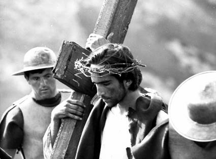 Bible movies, films. Christ carrying his cross in Pasolini's 'Gospel According to St Matthew'