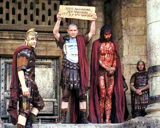 Bible movies, films. Pontius Pilate shows Jesus to the crowd in 'The Passion of the Christ'