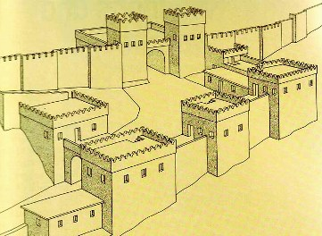 Bad men in the Bible: reconstruction of the walls and gate surrounding the ancient city of Megiddo; the walls around Jerusalem were probably similar, though larger