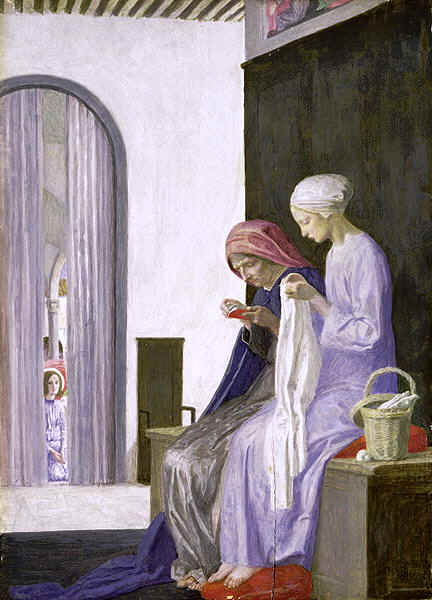 Mary and Elizabeth, by Robert Anning Bell. Notice the angel quietly watching over them, hidden behind the curtain