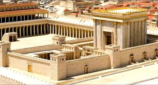 A model of the Jerusalem Temple - though it was still in the process of being built at the time that Elizabeth gave birth