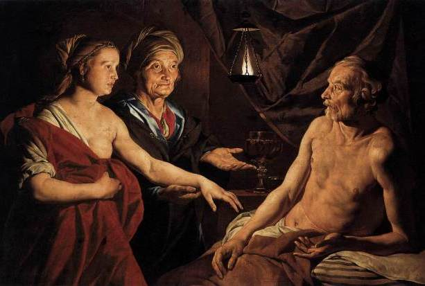 Sarah Presenting Hagar to Abraham, Matthias Stomer, 1637