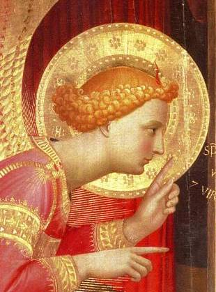Annunciation, Fra Angelico, detail of the angel