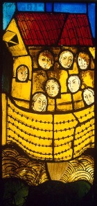 German stained glass window of Noah and his family; window now in St Petersburg