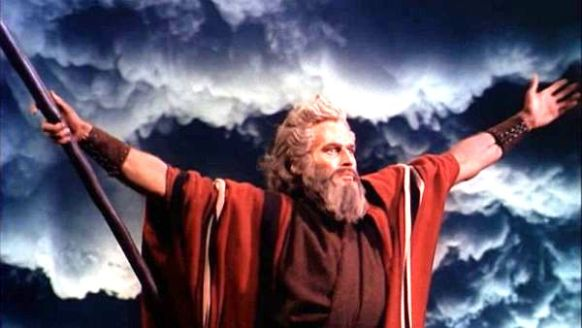 Bible movies, films. The Ten Commandments. The Parting of the Red (Reed) Sea in 'The Ten Commandments'