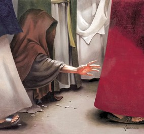 The woman, with her face hidden, reaches out to touch the hem of Jesus' garment