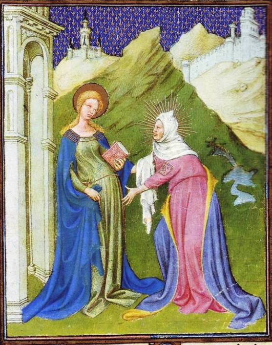 Visitation of Mary to her cousin Elizabeth, Duc de Berry Book of Hours