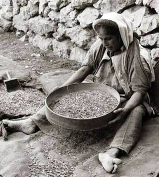 Woman preparing grain for flat cakes