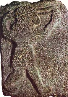 Bad Bible men: Ancient stone carving of a 'slinger' with his slingshot