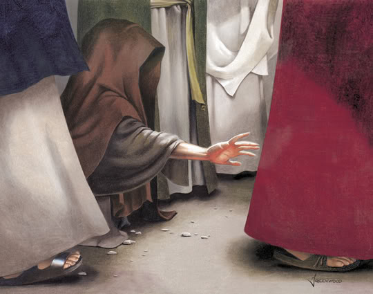 The menstruating woman reaches out to touch the hem of Jesus' robe