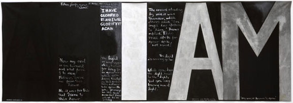 Belief in God, meditation. I am Who am, painting by Colin McCahon, 1987